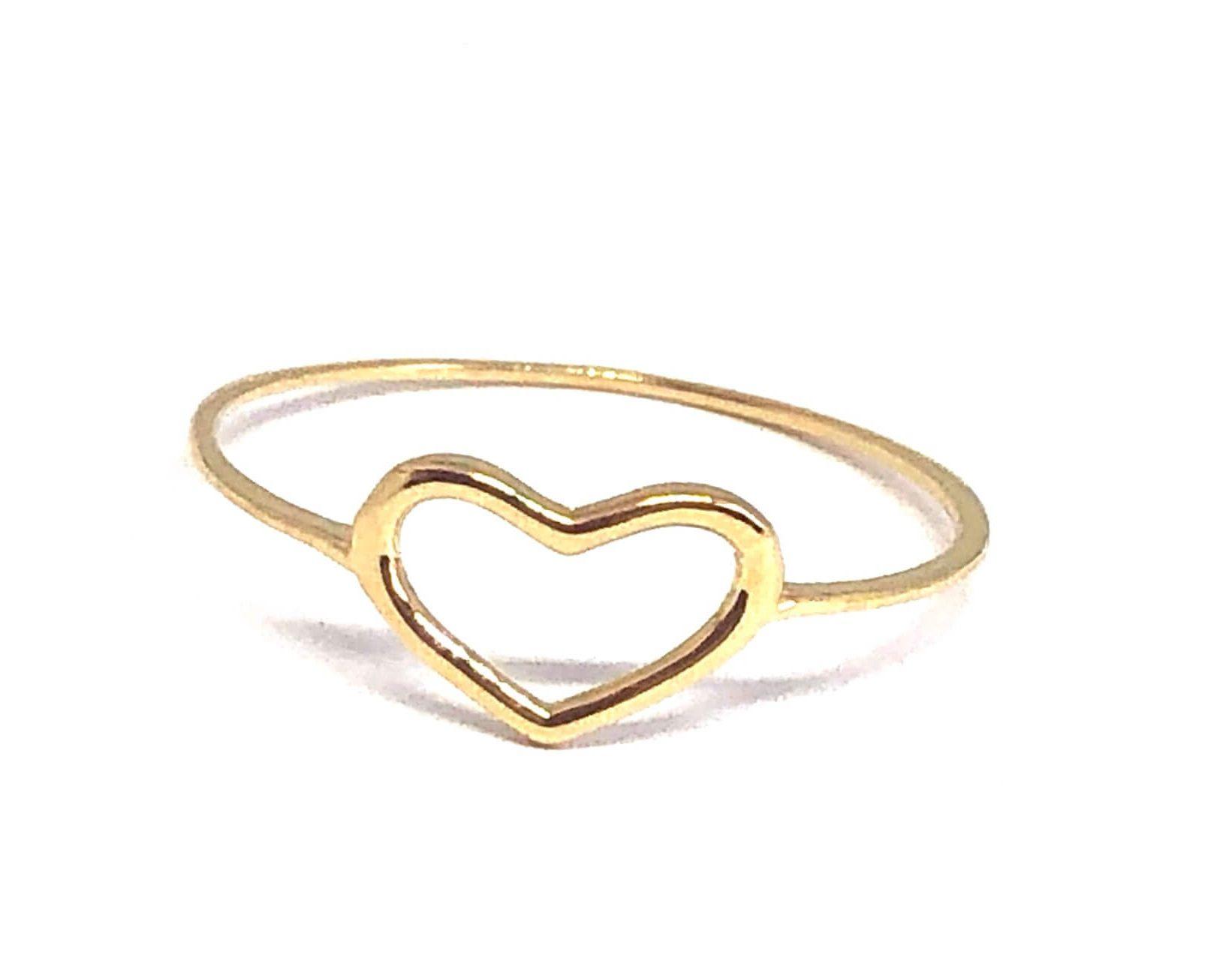 Anel de ouro 18K coração pequeno