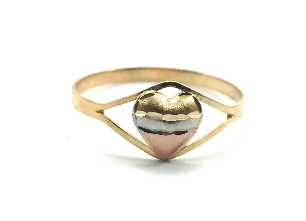 Anel de ouro 18k coração tricolor