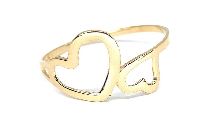 Anel de ouro 18K Corações aro 21