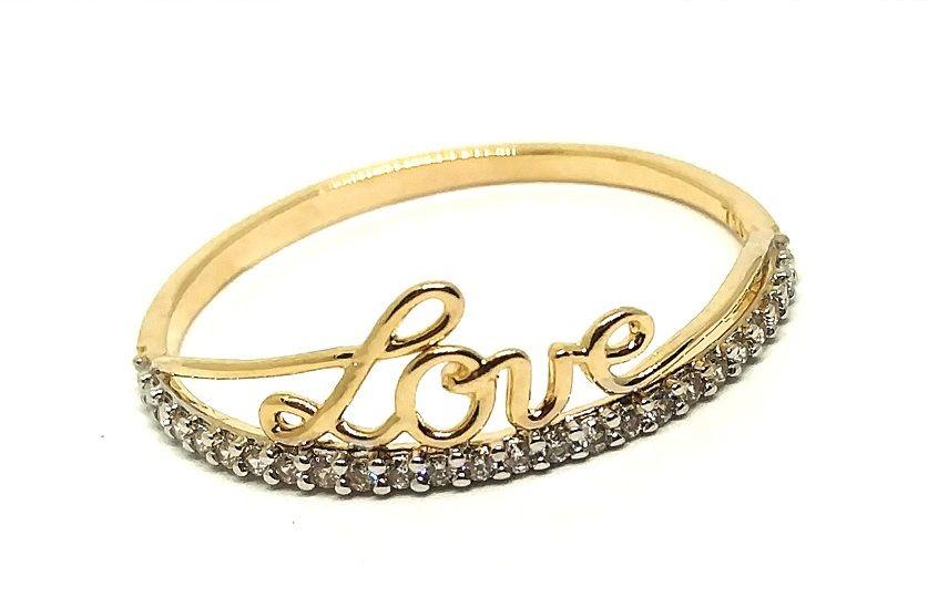 Anel de ouro 18k Love com Pedras