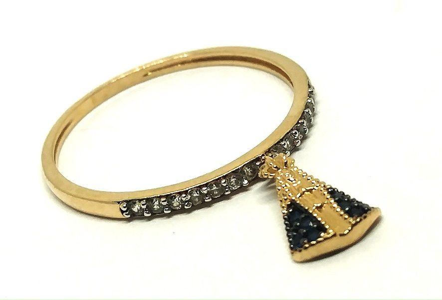 Anel de ouro 18k cravejado com zircônias e pingente de Nossa Senhora Aparecida