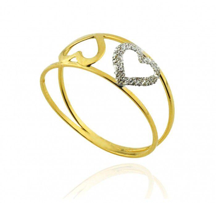 Anel de ouro 18k Duplo Coração