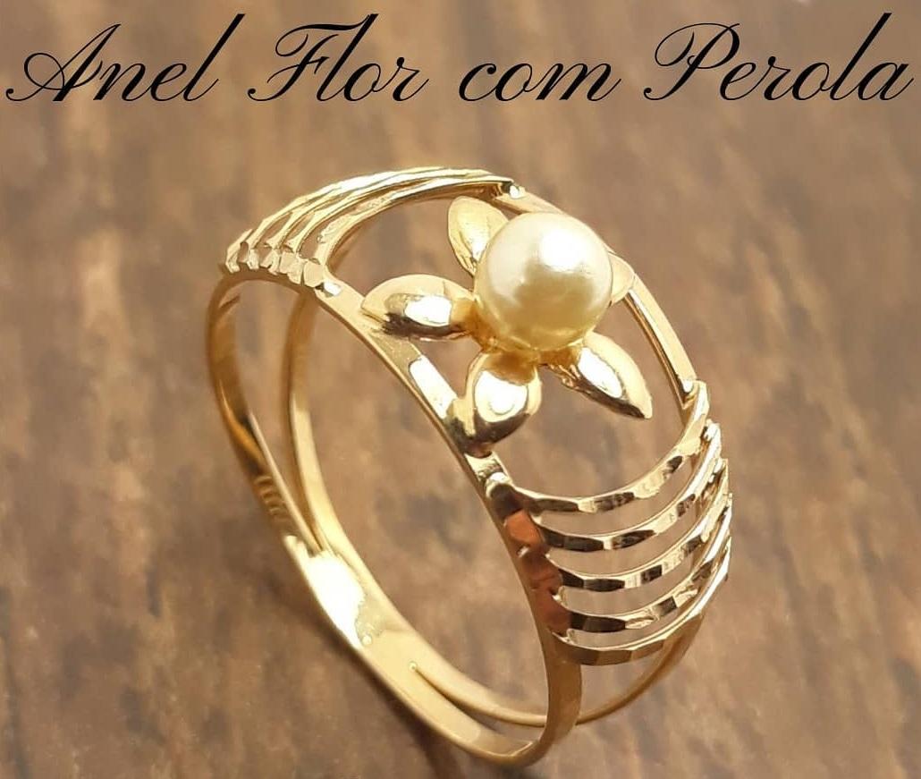 Anel de ouro 18K Flor com Perola