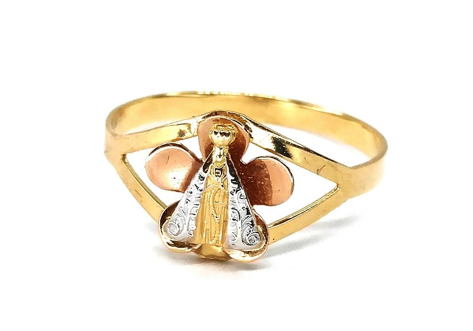 Anel de ouro 18K Flor N. S. Aparecida aro 20