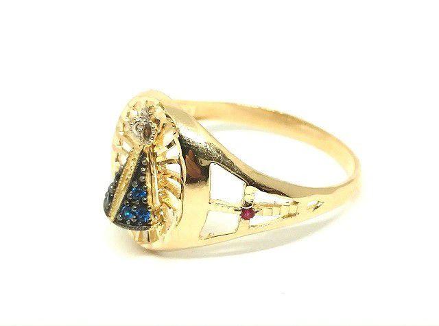 Anel de ouro 18k Nossa Senhora Aparecida com pedras