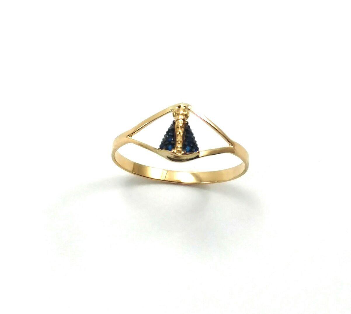 Anel de ouro 18k Nossa Senhora Aparecida com zircônias