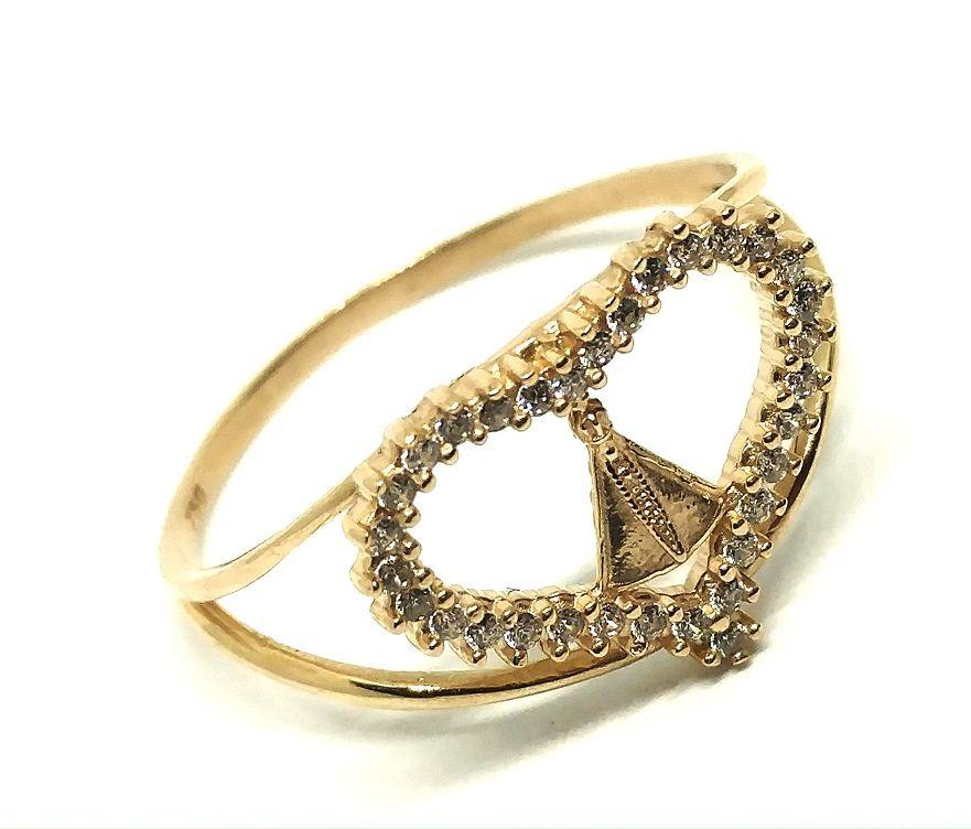 Anel de ouro 18k Nossa Senhora Aparecida Coração com pedras