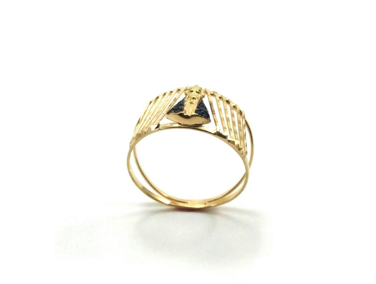 Anel de ouro 18k Nossa Senhora Aparecida raiado