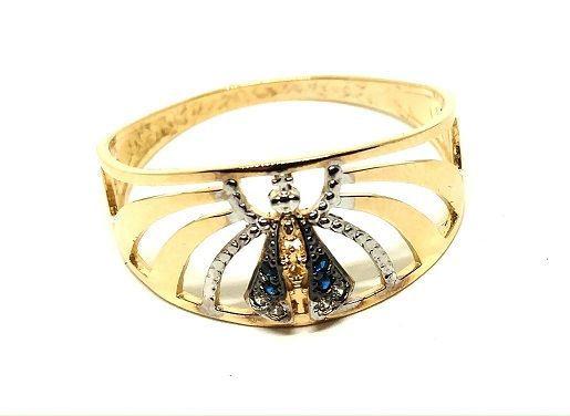 Anel de ouro 18k Nossa Senhora Aparecida Raiado com pedras