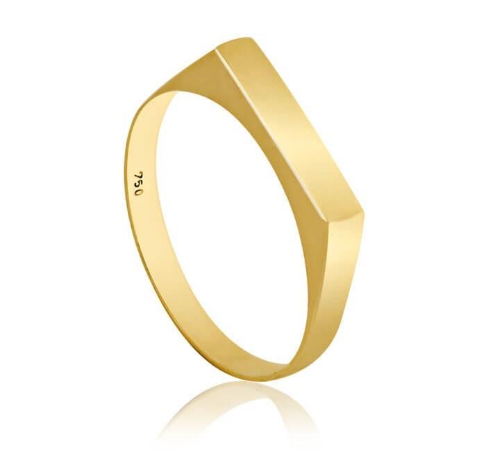 Anel de ouro 18k Plaquinha 2mm