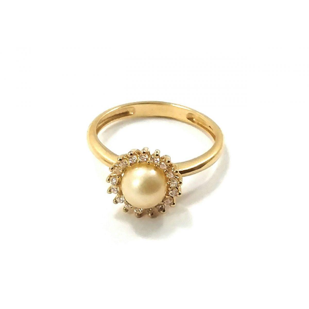 Anel de ouro 18k princesa pérola