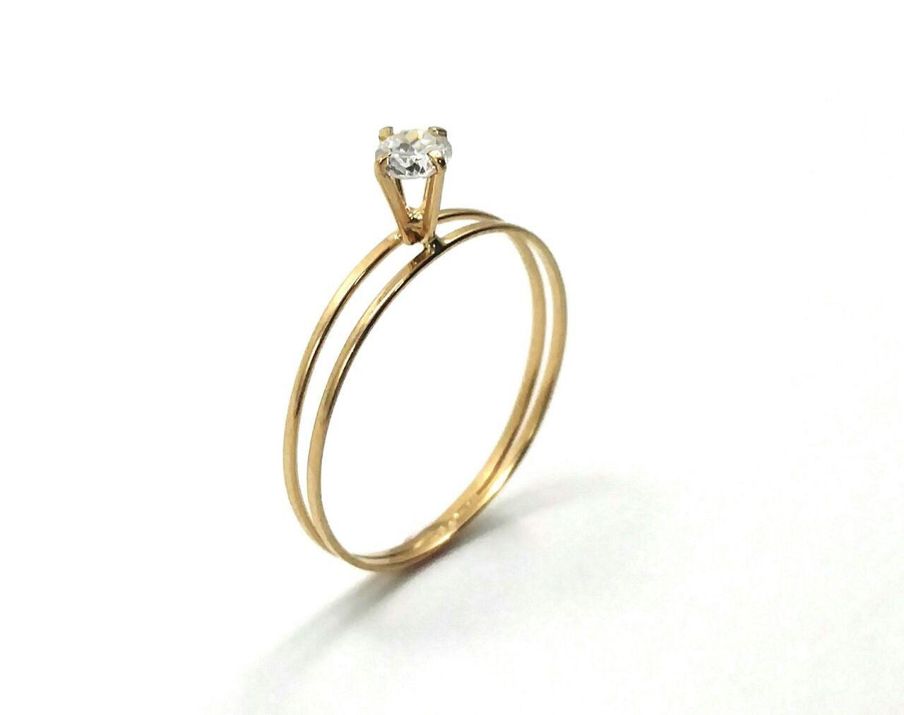 Anel de ouro 18k solitário - aro duplo
