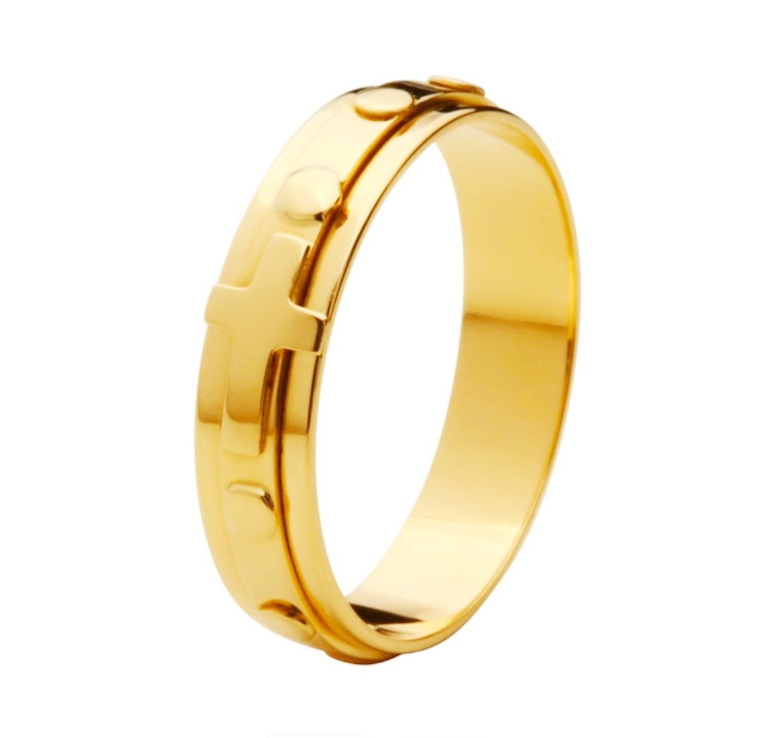 Anel de ouro 18k terço planetário