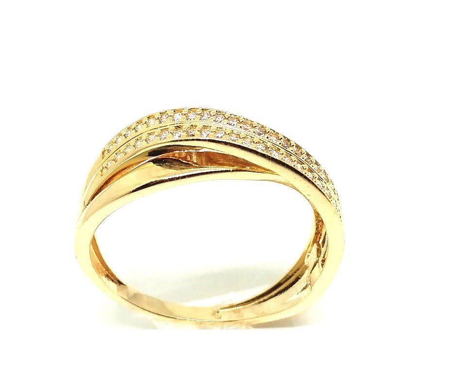 Anel de ouro 18k torcido com zircônias