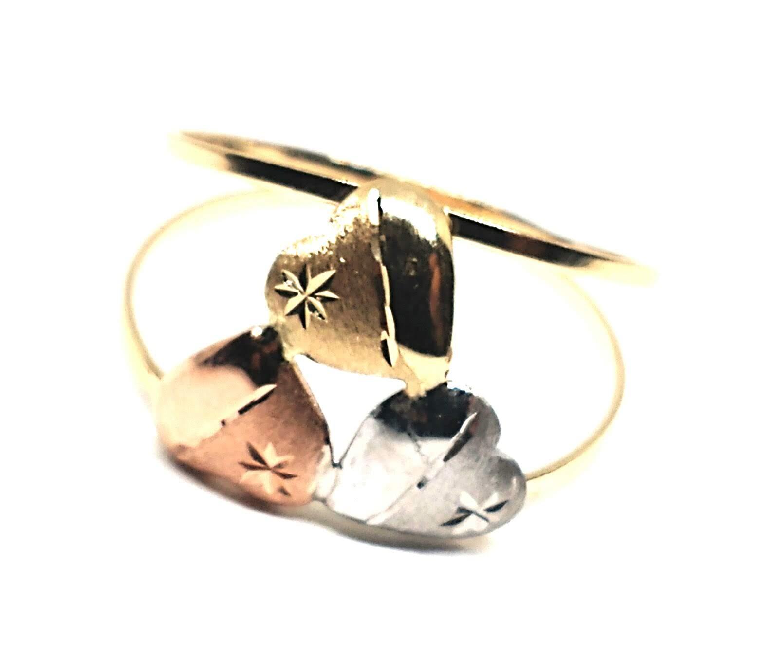 Anel de ouro 18k tres corações