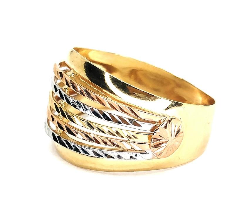 Anel de ouro 18k  Tricolor