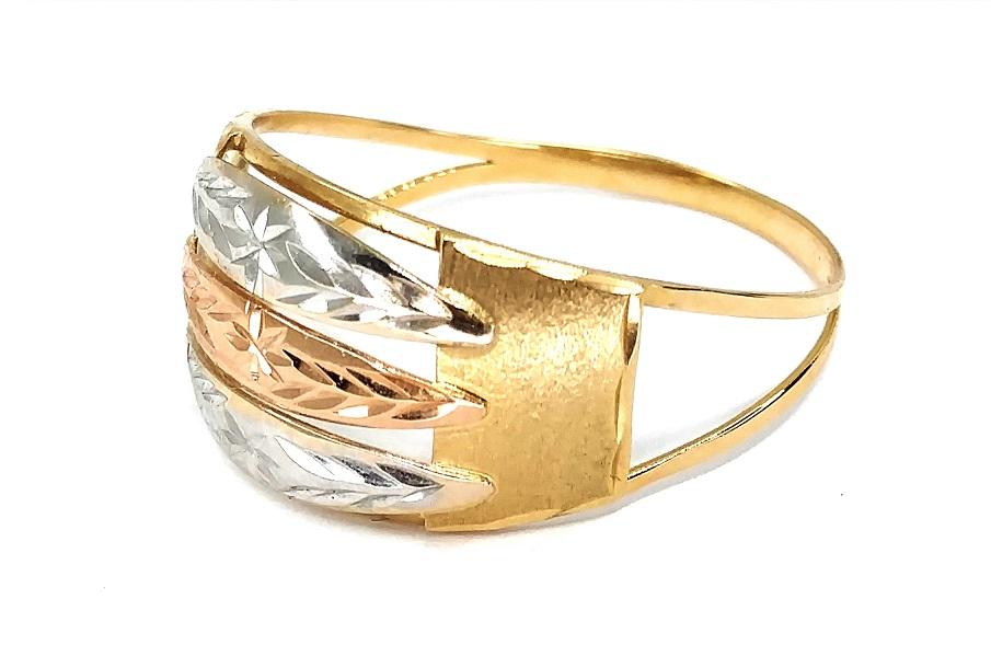 Anel de ouro 18k Tricolor aro 23