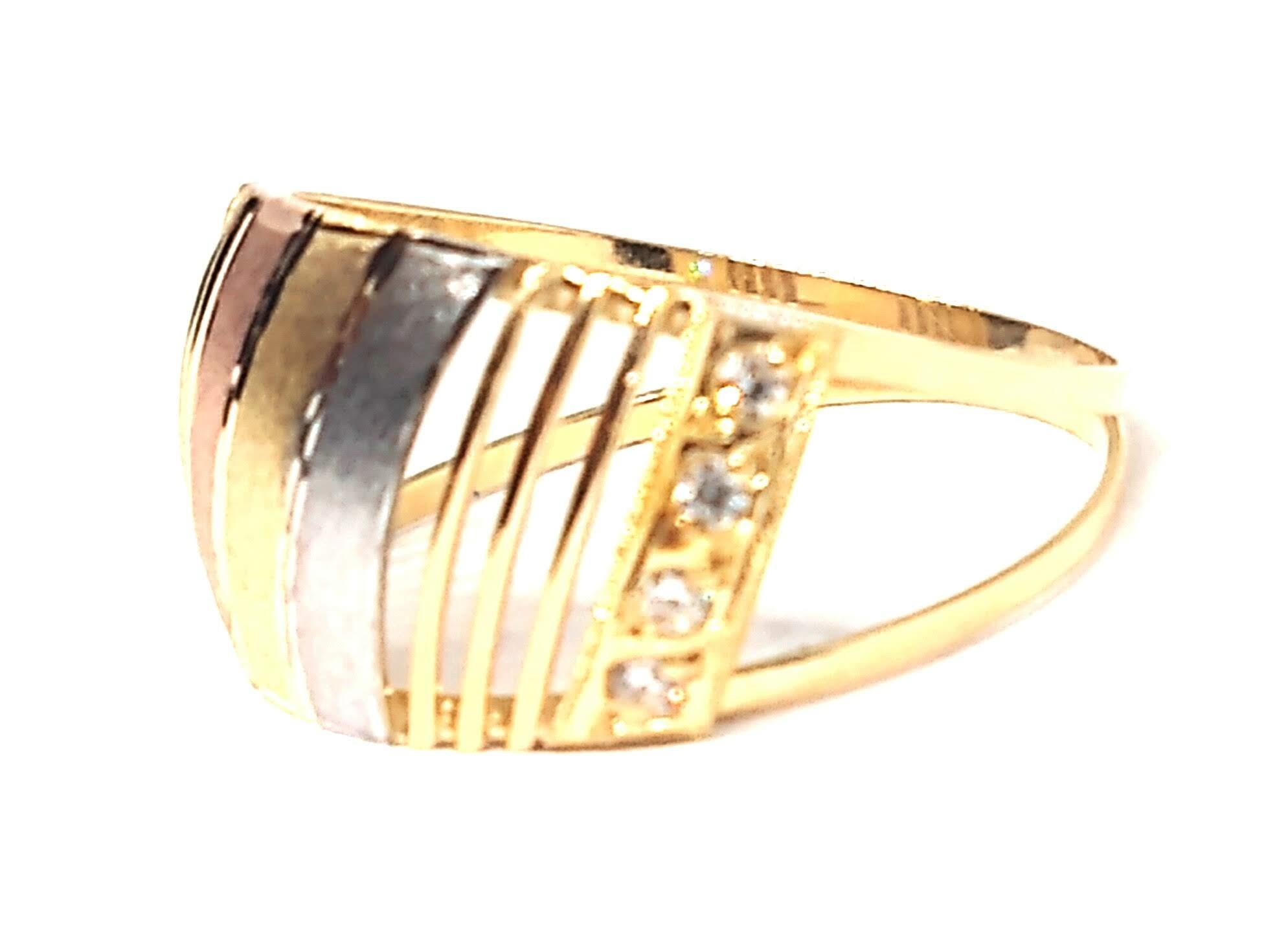 Anel de ouro 18k Tricolor Luxo