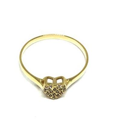 Anel ouro 18K Coração  com Pedras