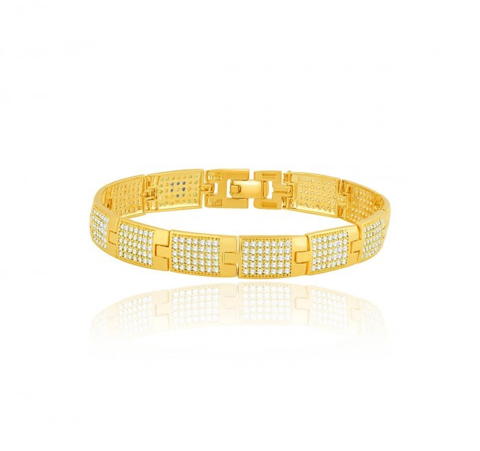 Bracelete de Ouro 18K Ouro Com Pedras
