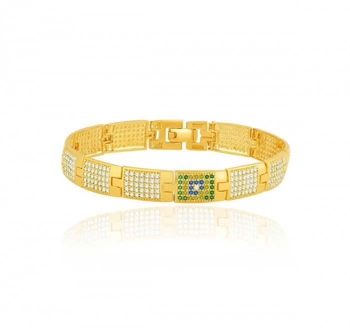 Bracelete de Ouro 18K Ouro Com Pedras BRASIL
