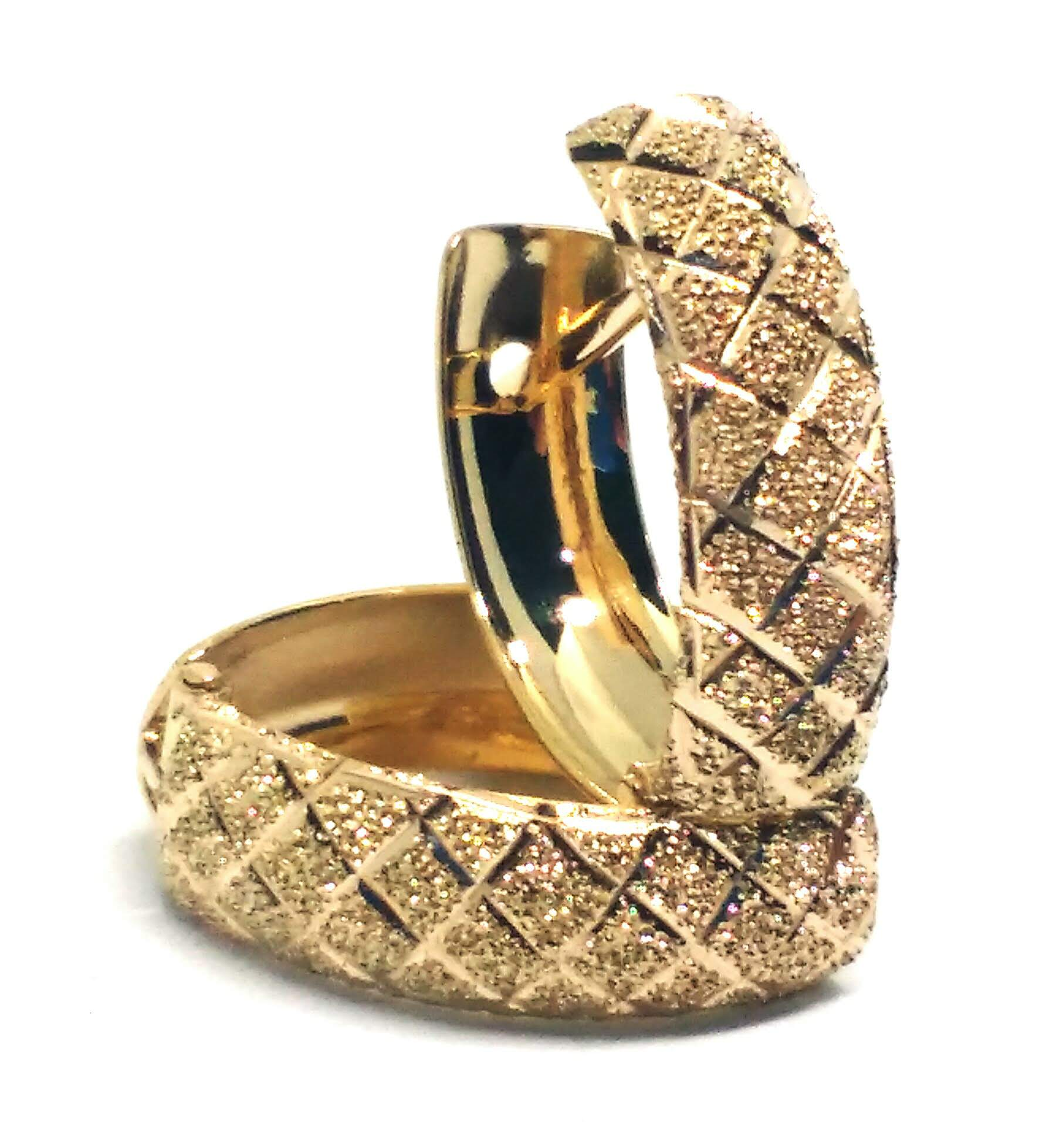 Brinco de ouro 18k  Argola Bordado