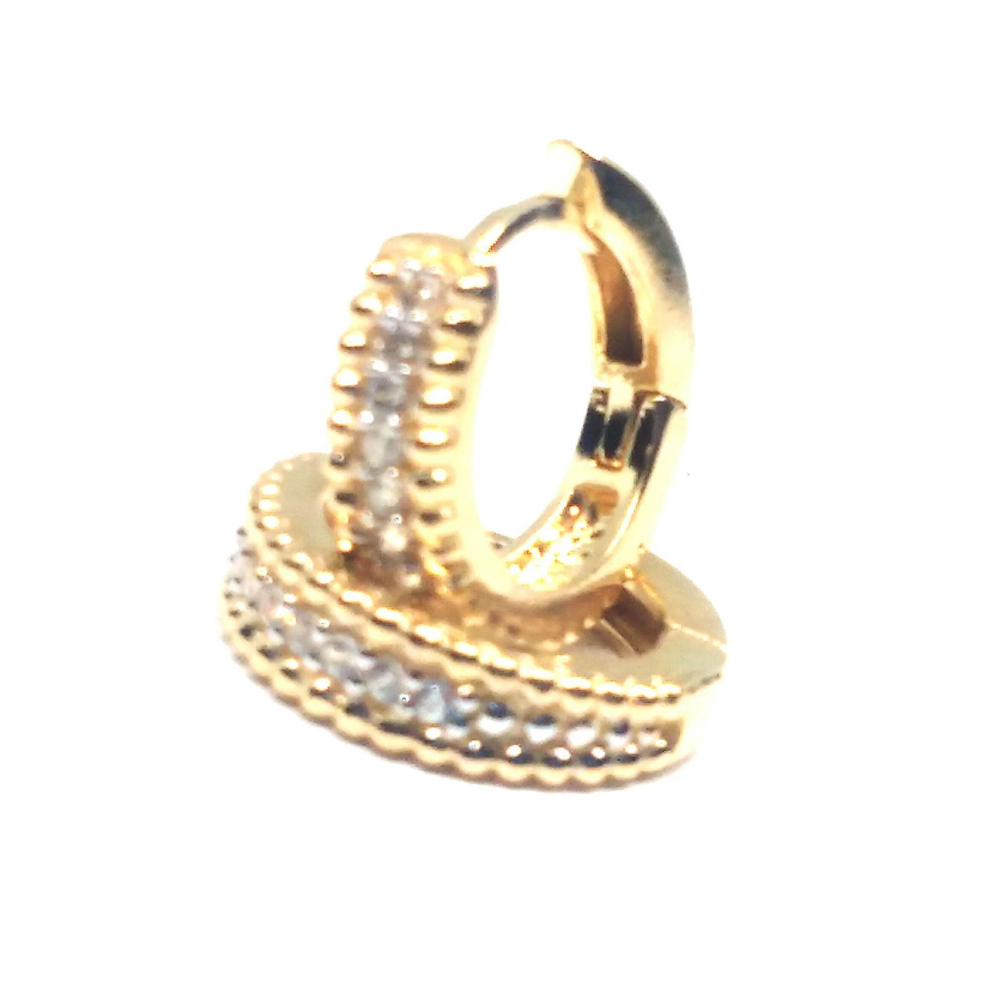 Brinco de ouro 18k  Argola com Pedras