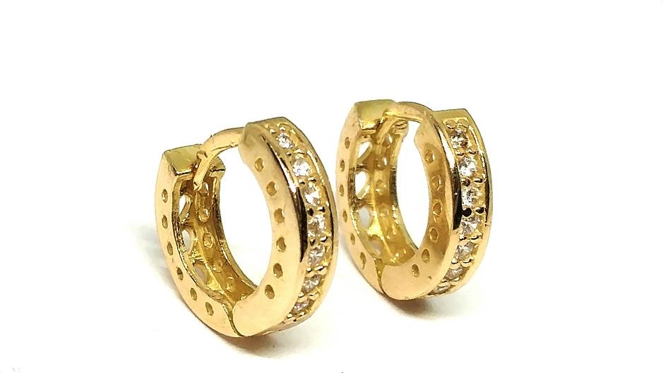 Brinco de ouro 18k  Argola com Pedras 1Cm