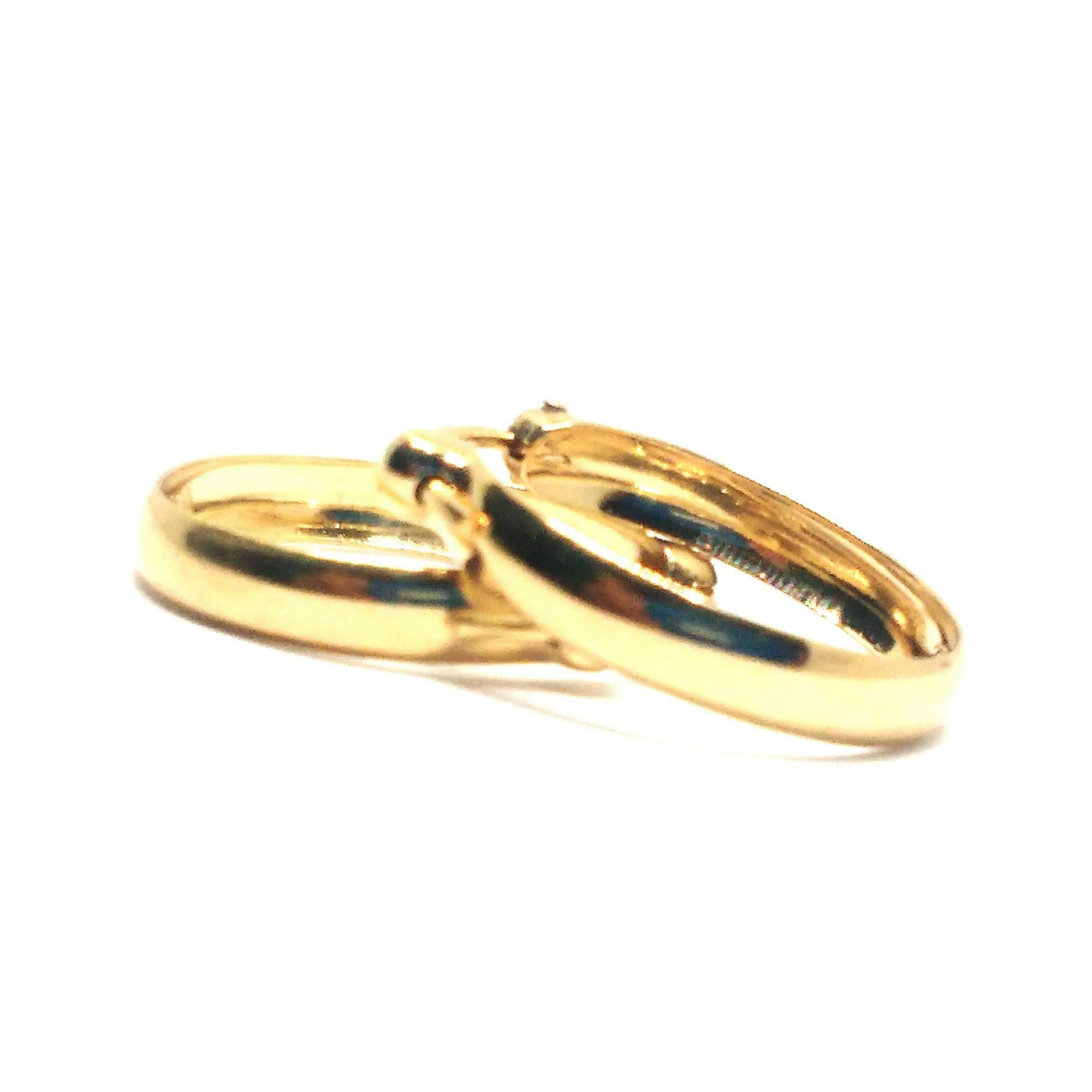 Brinco de ouro 18k  Argola Pequeno Liso 1Cm