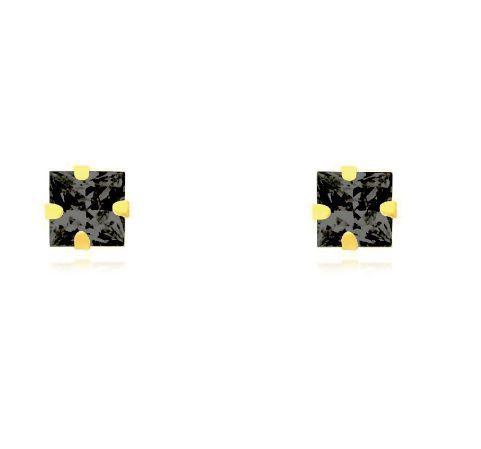 Brinco de ouro 18k Carre 6X6