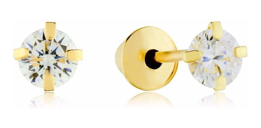 Brinco de ouro 18k com pedra de zircônia