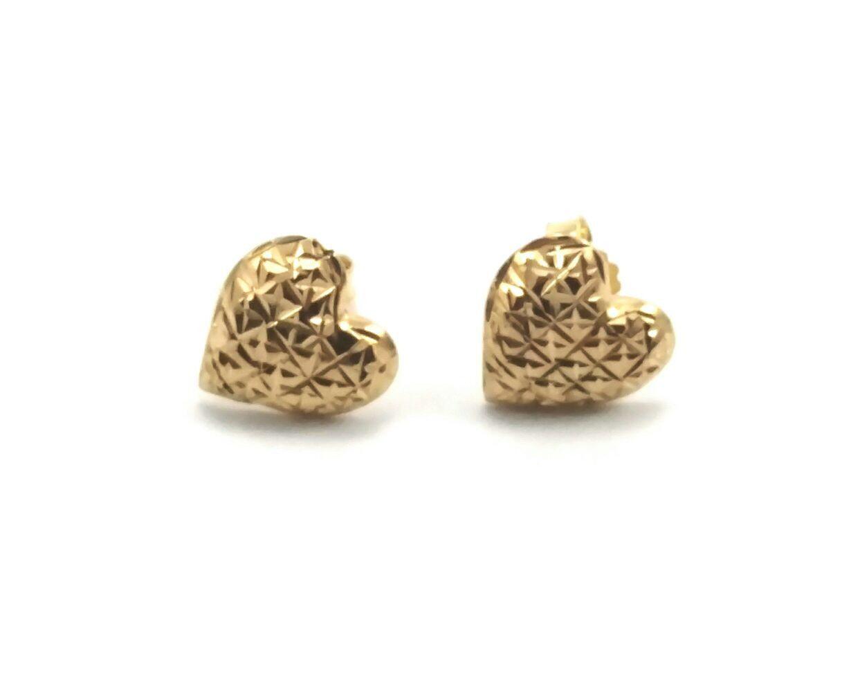 Brinco de ouro 18k coração diamantado