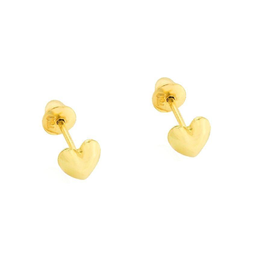 Brinco de ouro 18k coração fofo