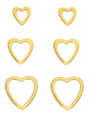 Brinco de ouro 18k Coração vazado