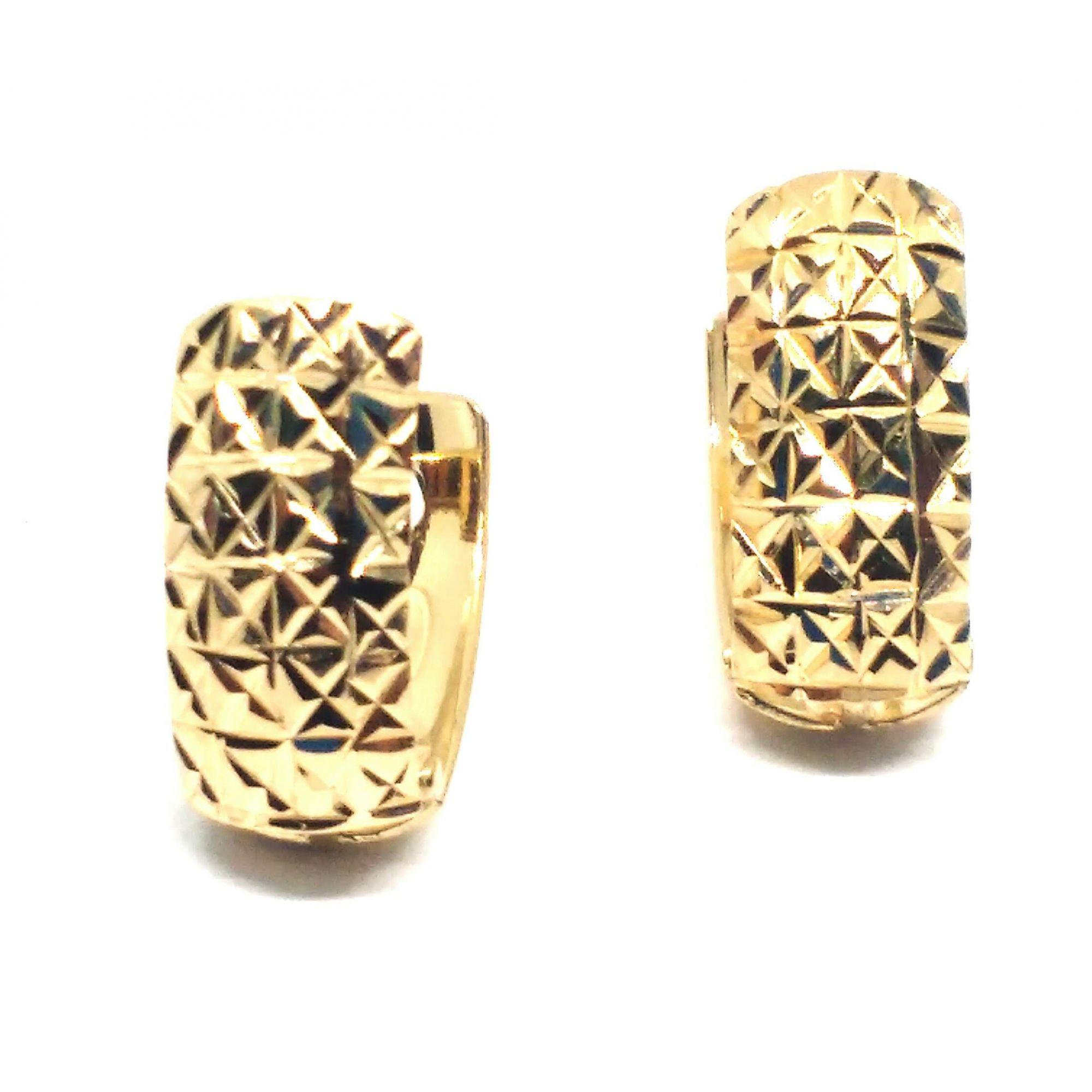 Brinco de ouro 18k Diamantado
