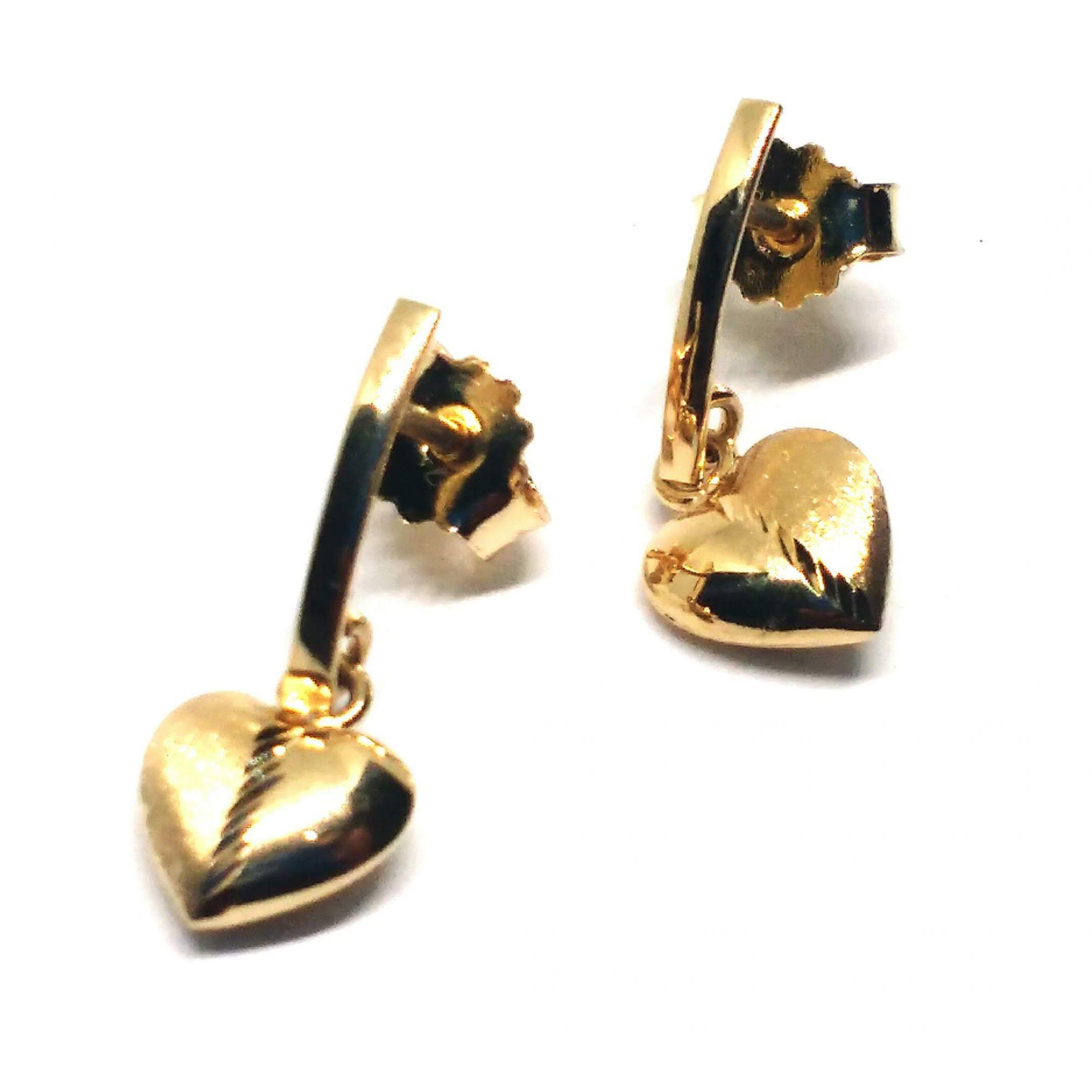 Brinco de ouro 18k Filete e Coração