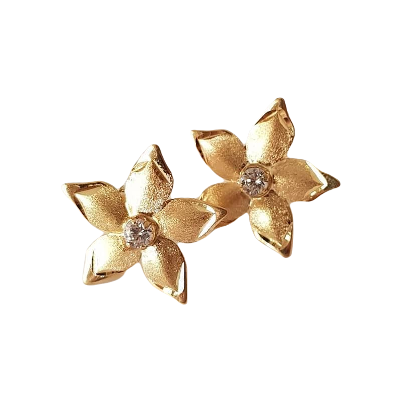 Brinco de ouro 18k Flor