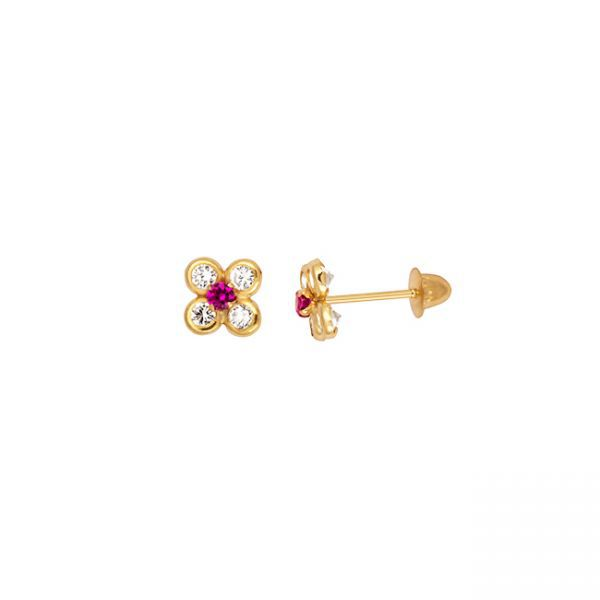 Brinco de ouro 18k flor com zircônia