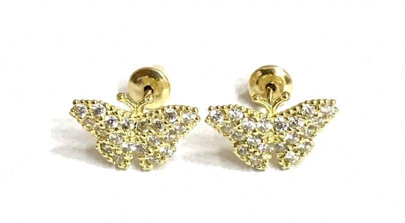 Brinco de ouro 18k Infantil borboleta