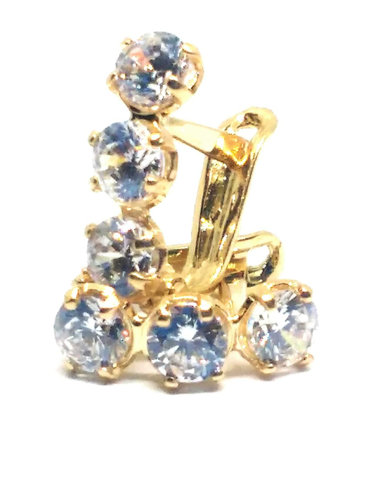 Brinco de ouro 18k Pedras