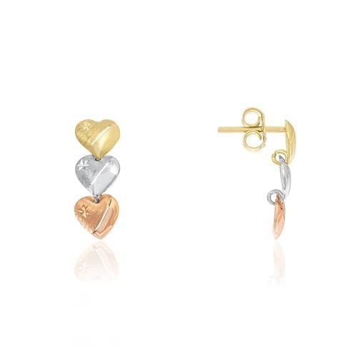Brinco de ouro 18k três corações