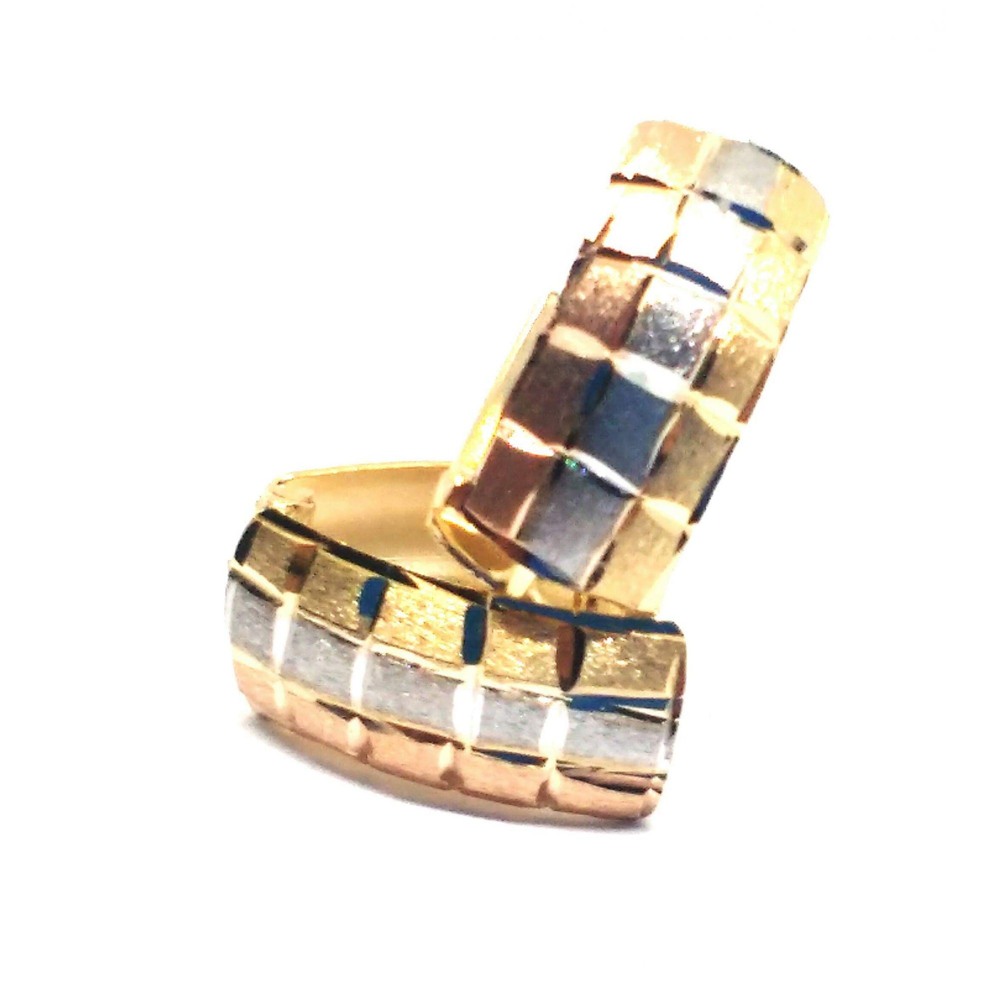 Brinco de ouro 18k Tricolor