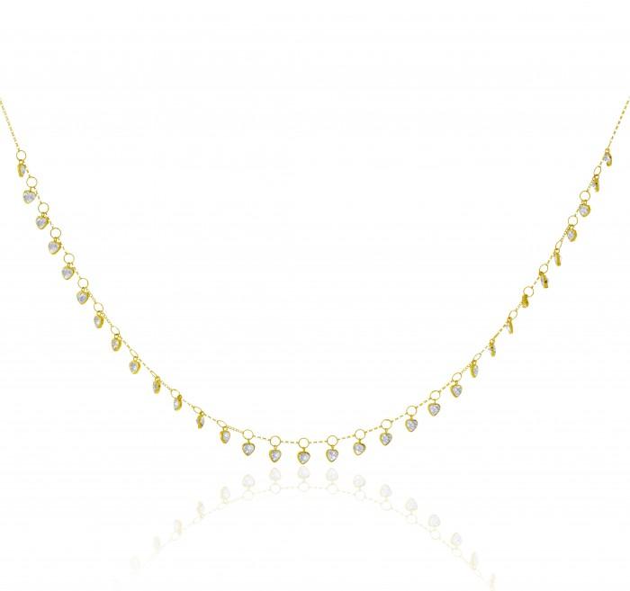 Colar de Ouro 18k Choker Corações 40cm