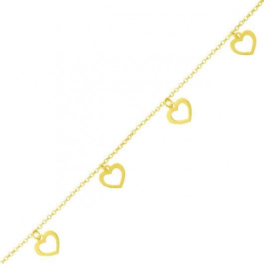 Colar de Ouro 18k Choker Corações 45cm