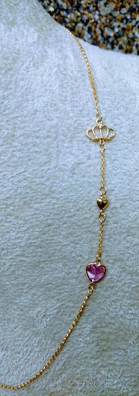 Colar de Ouro 18k Choker Coroa 40cm