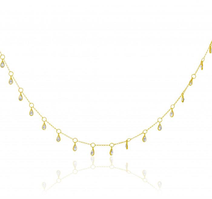 Colar de Ouro 18k Choker Zircônias 40cm