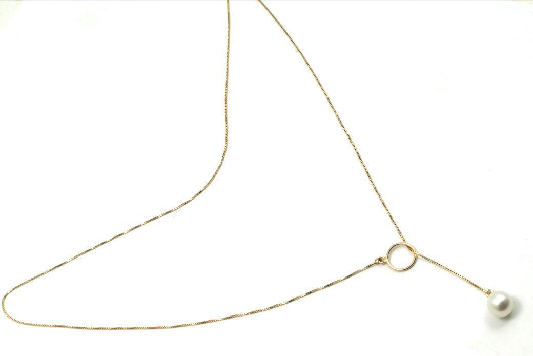 Colar de ouro 18k gravata com pérola