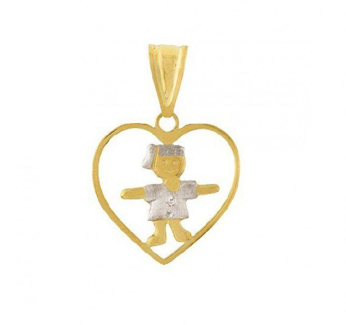 Pingente de ouro 18k  coração filha