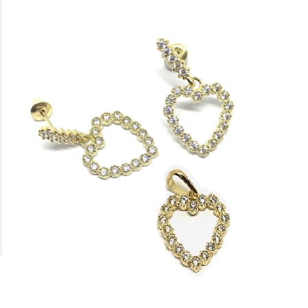 Coração com pedras ouro 18k