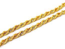 Corrente de ouro 18k cordão baiano Tricolor